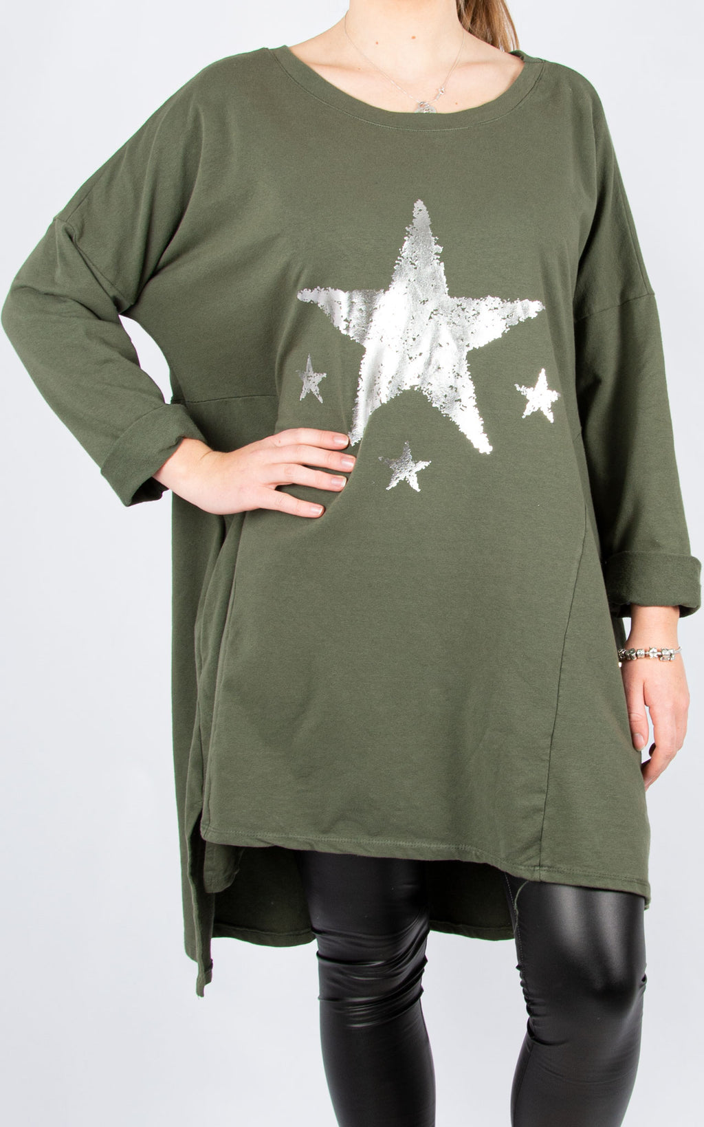 Sweat Tunic Dress | Stars | Khaki