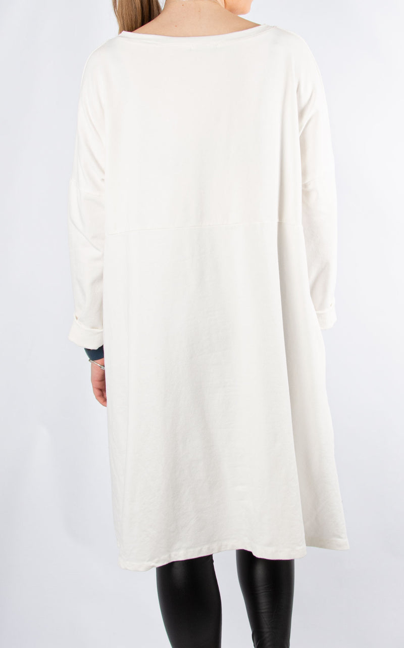 Sweat Tunic Dress | Stars | Winter White