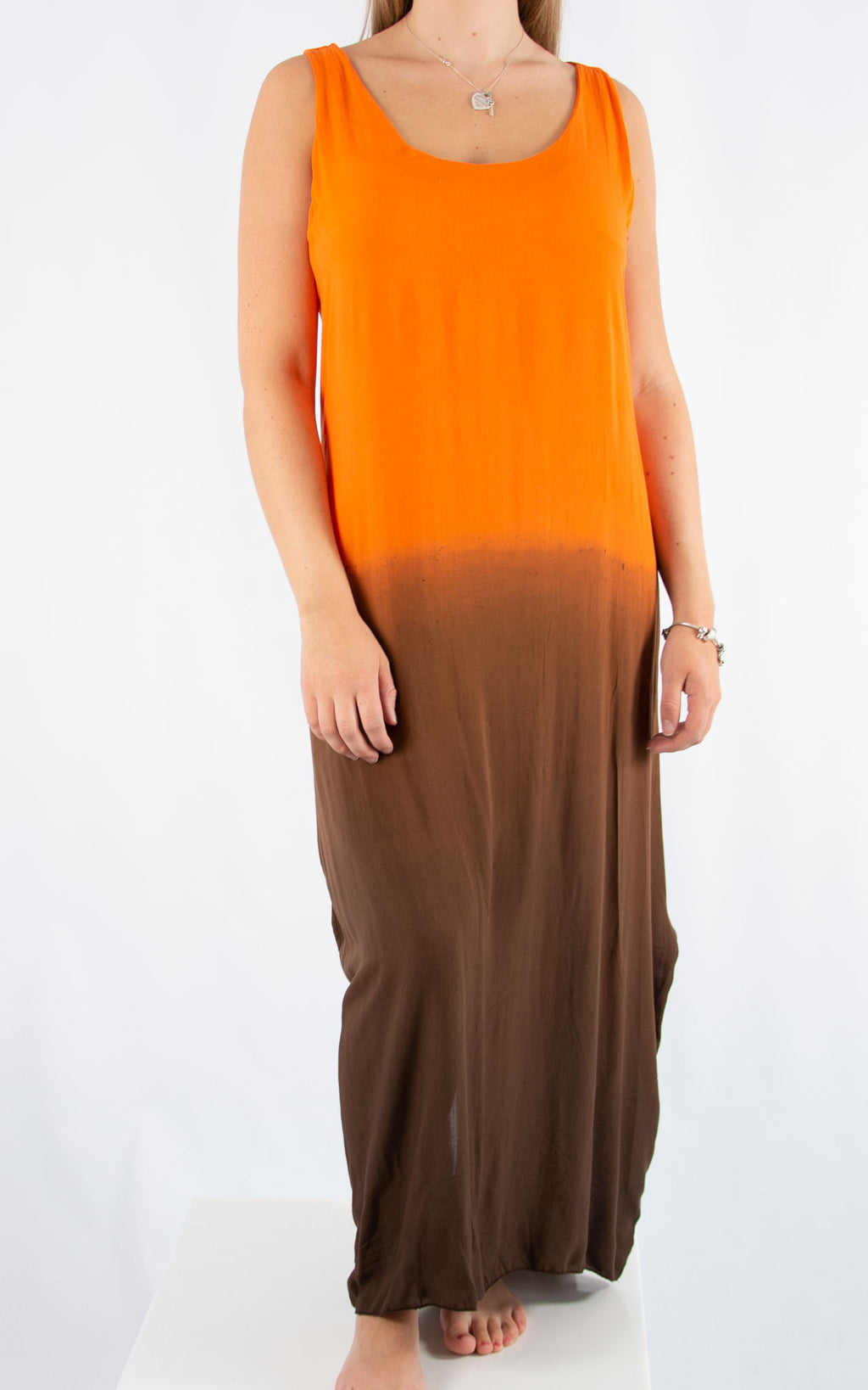 Orange Tie Dye Maxi Dress | Made in Italy