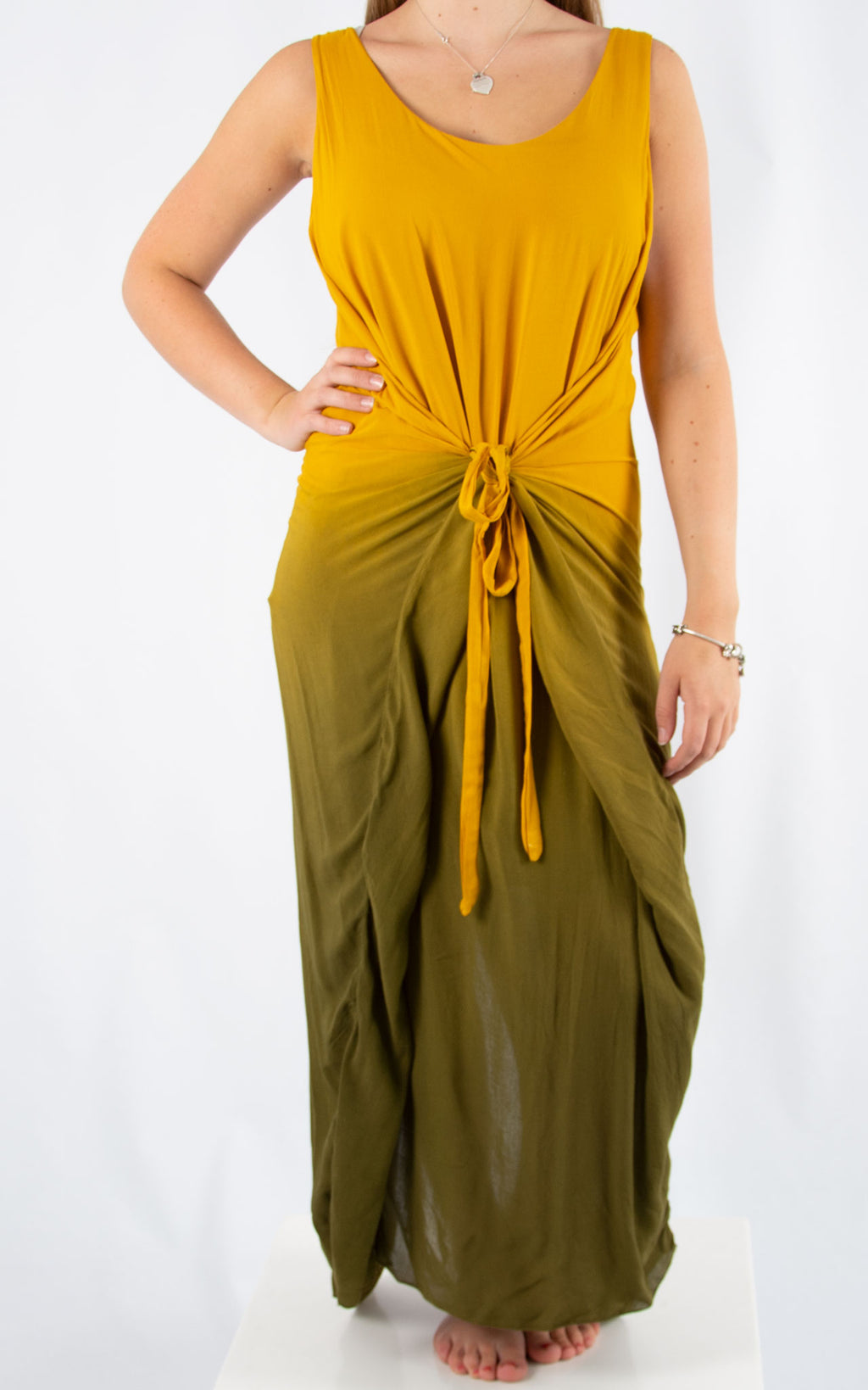 Yellow Tie Dye Maxi Dress | Made in Italy