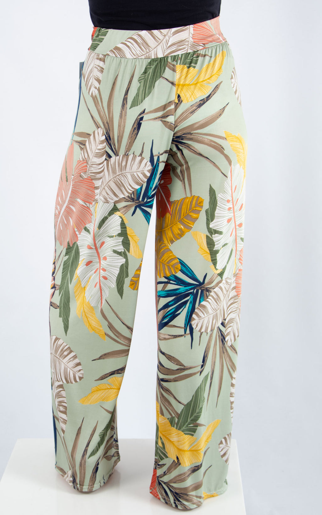 Magic Palazzo Trousers:  Sage Tropical