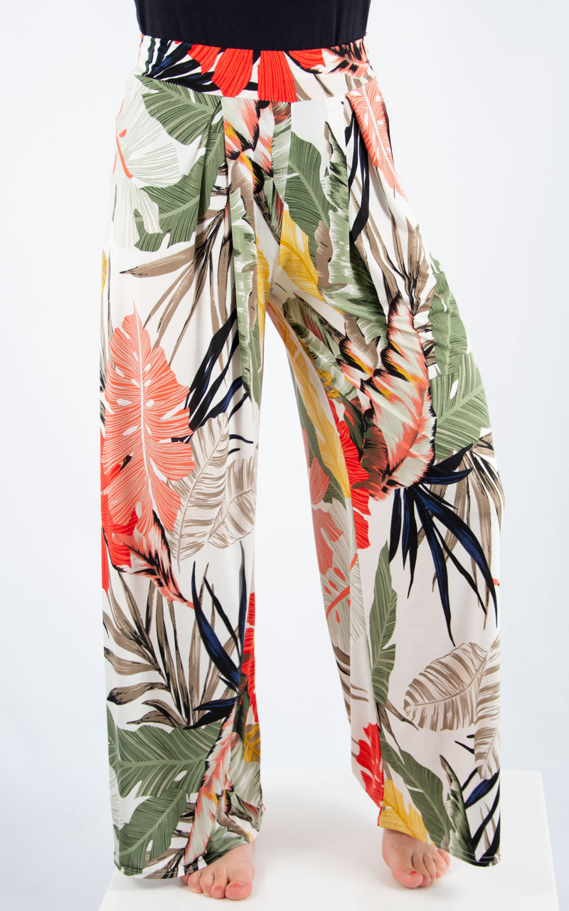 Magic Palazzo Trousers: White Tropical
