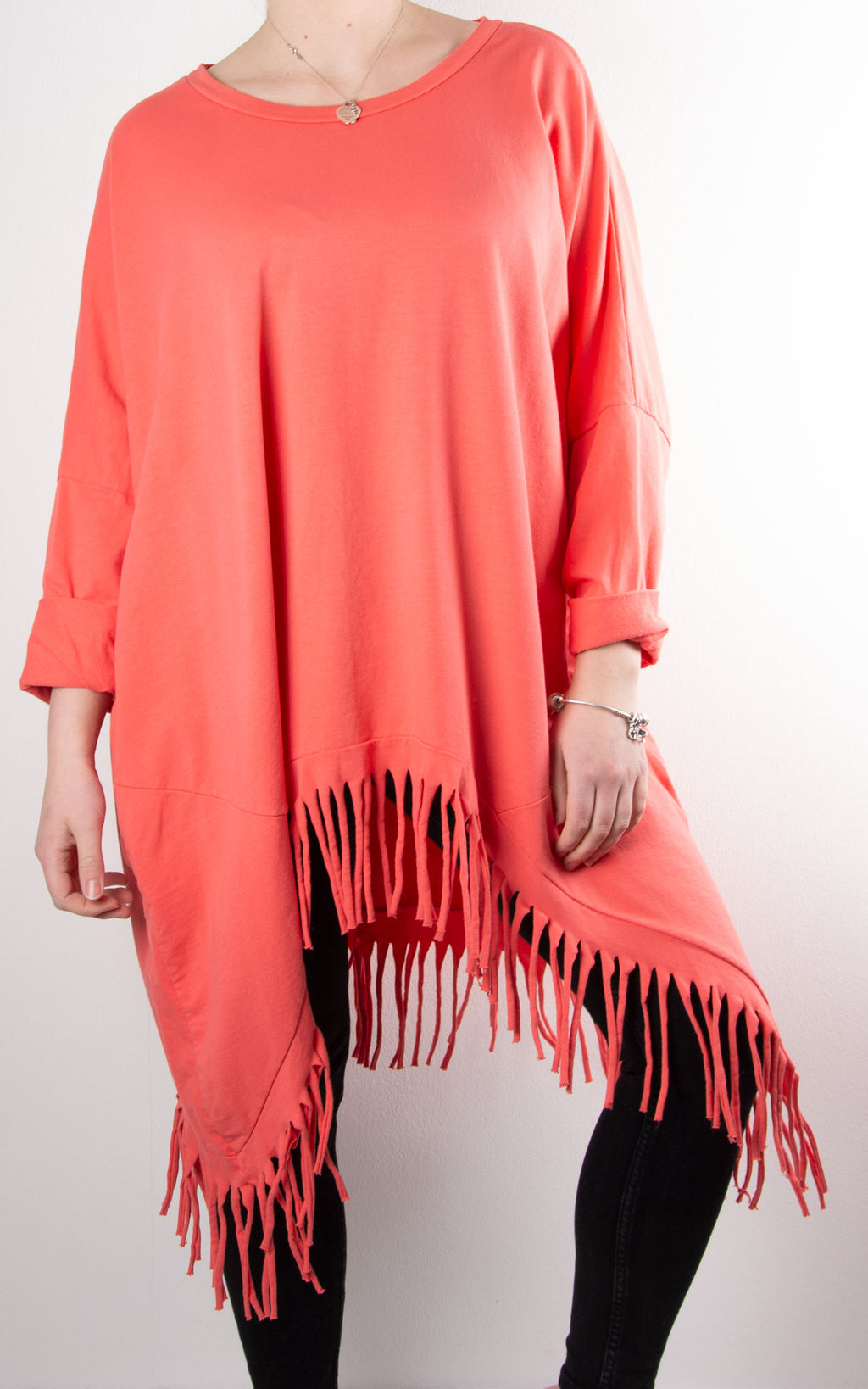 Tabby Shred Bottom Tunic | Coral