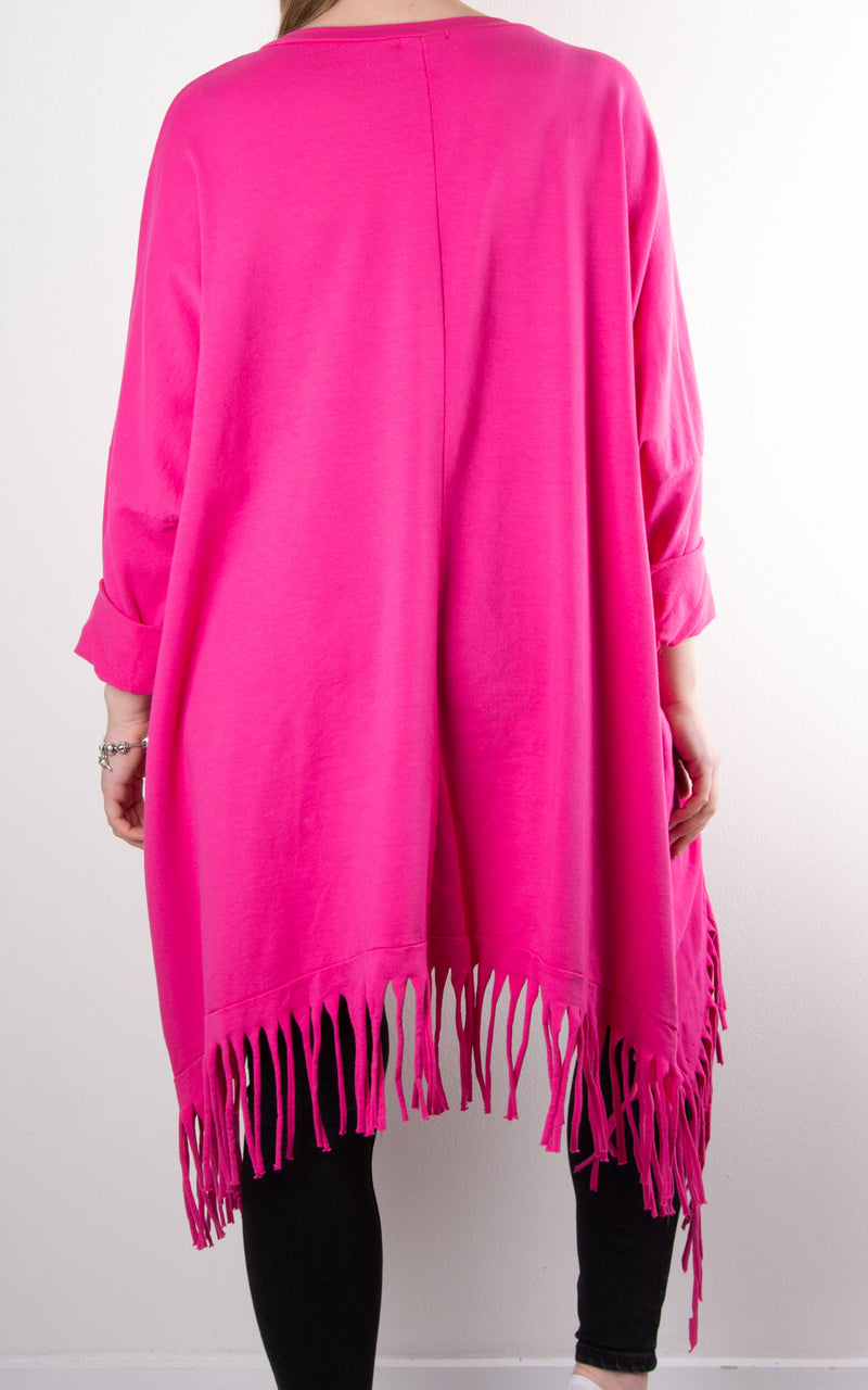 Tabby Shred Bottom Tunic | Hot Pink
