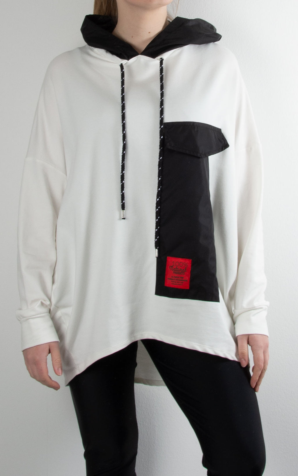 Taffeta Pocket Hoodie | Winter White