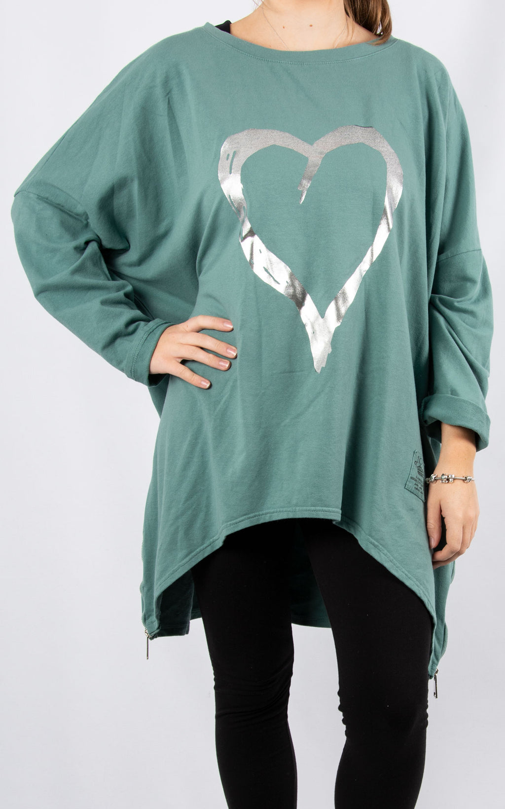 Teal Double Zip Heart Sweater