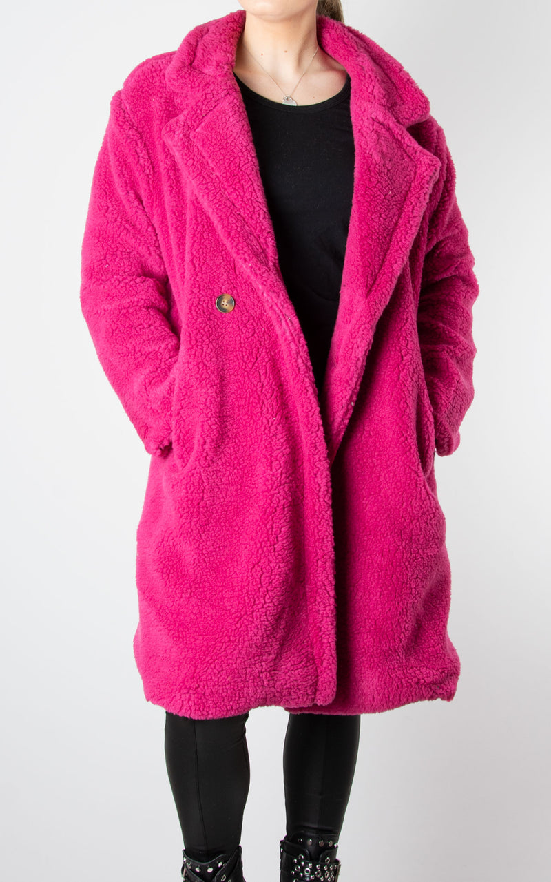 Teddy Coat | Hot Pink