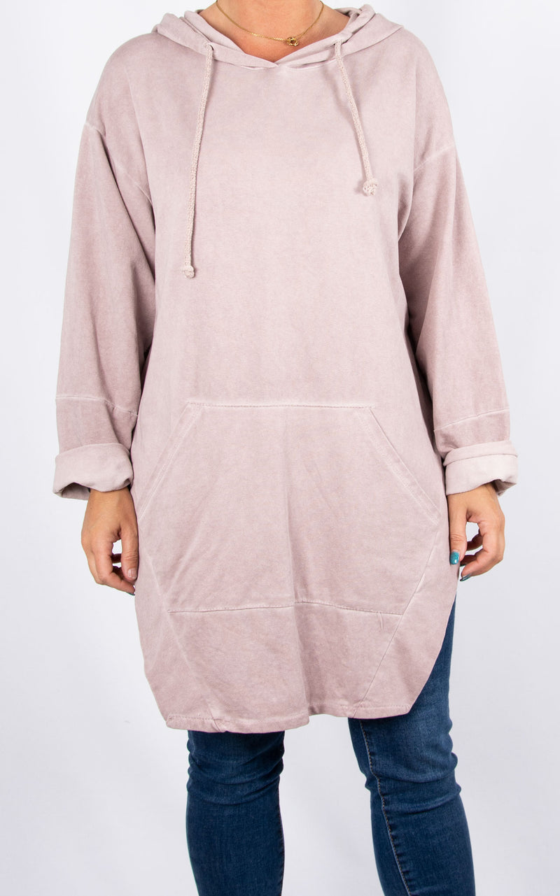 Top|Hooded Split Side|Pink