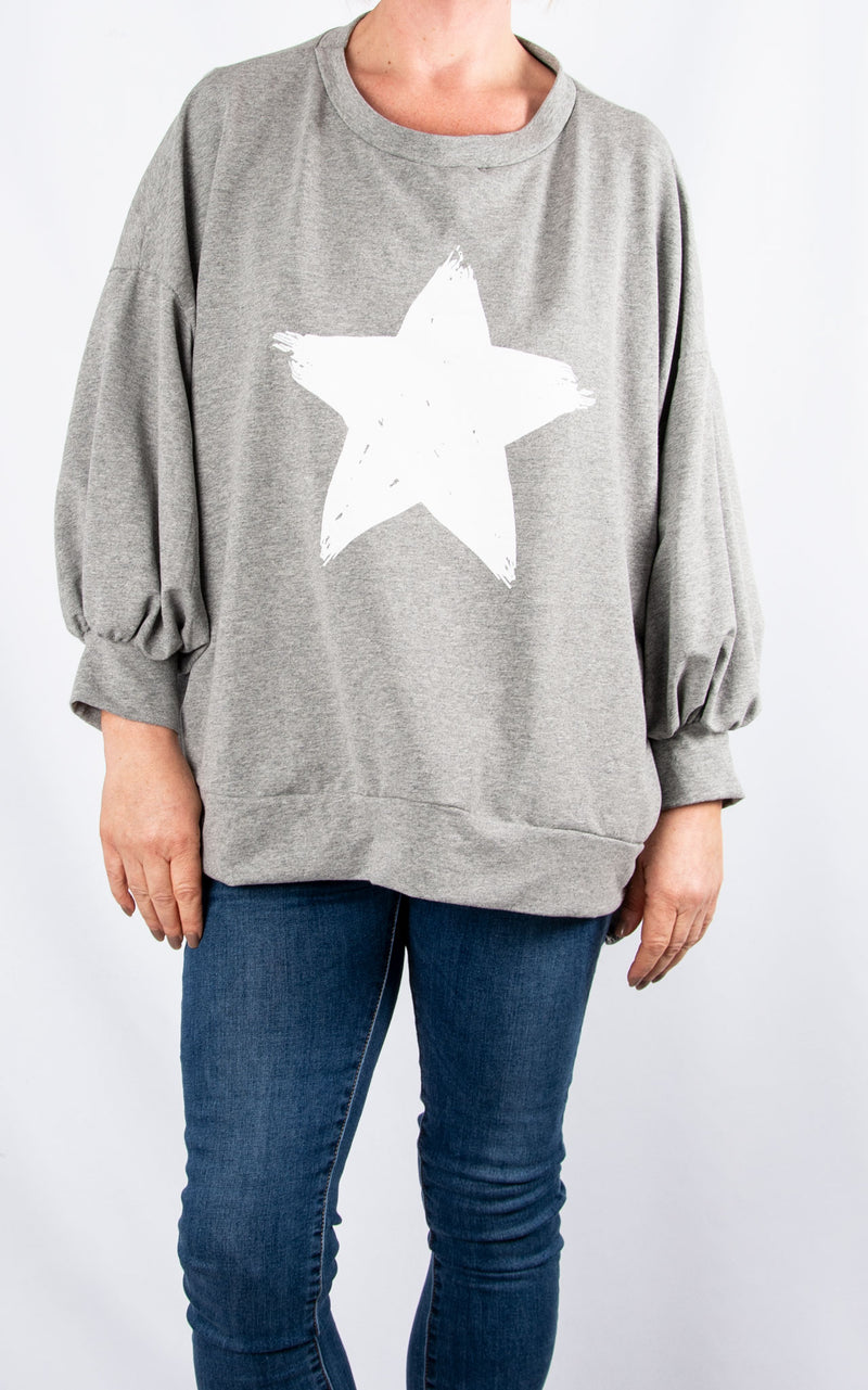 Top: Star Bell Sleeve|Grey