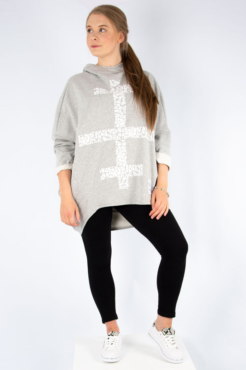 Grey Print Front Sweat Hoodie | Made in Italy