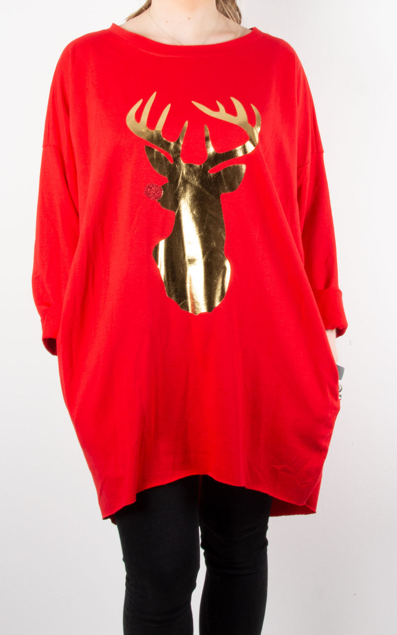 Trixie Top | Gold Reindeer | Red