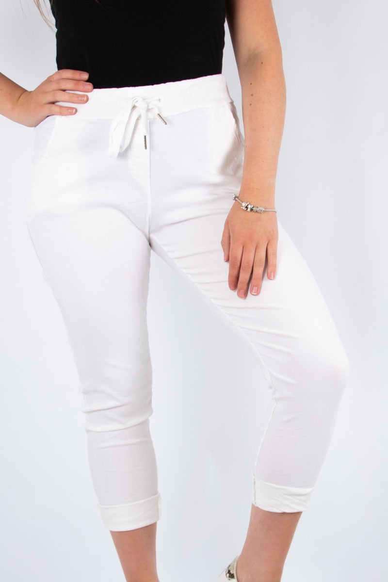 White Stretch Plain Trouser | Made in Italy