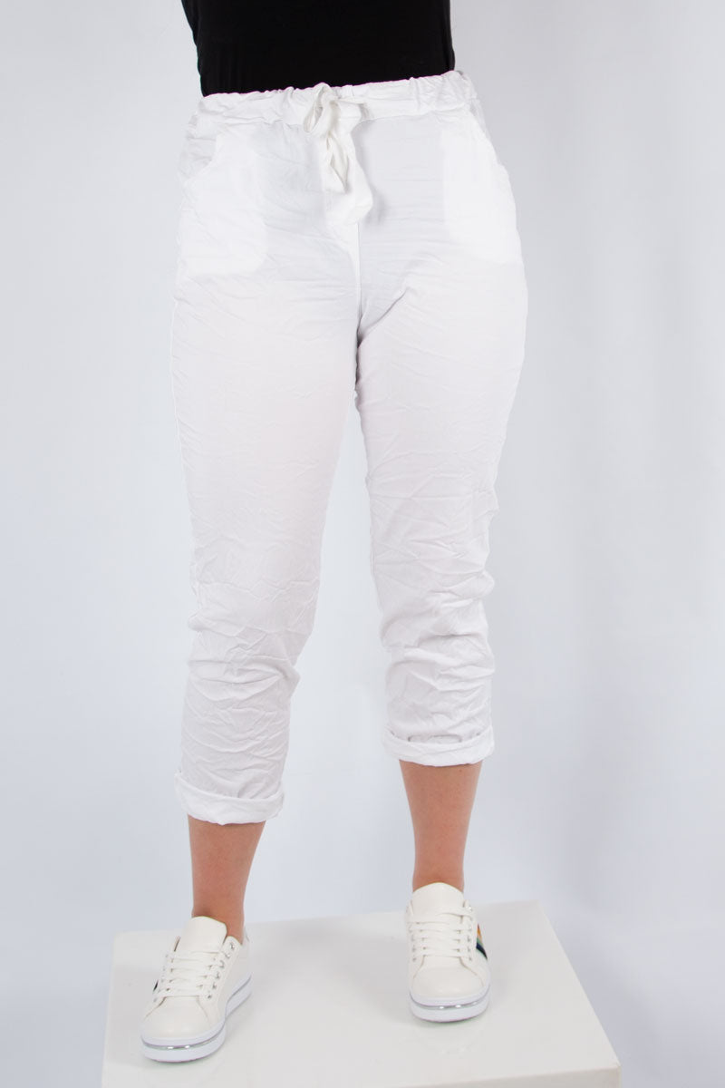 White Plain Stretch Jogger | Made in Italy