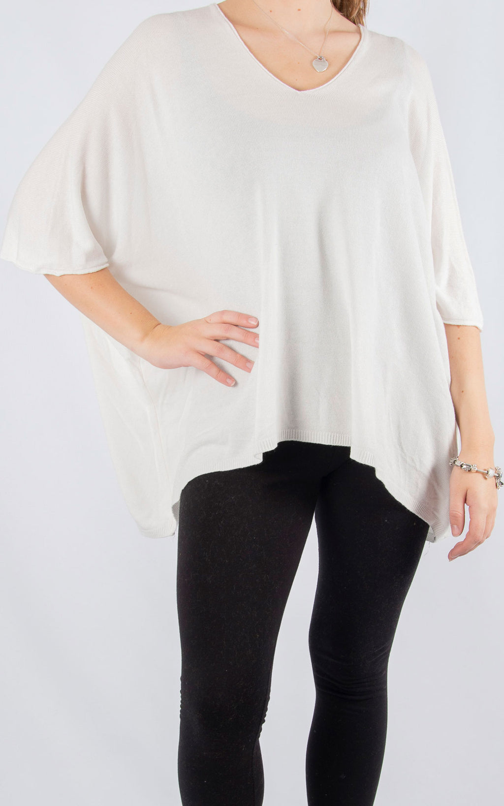 White Thin Knit Batwing | Made In Italy