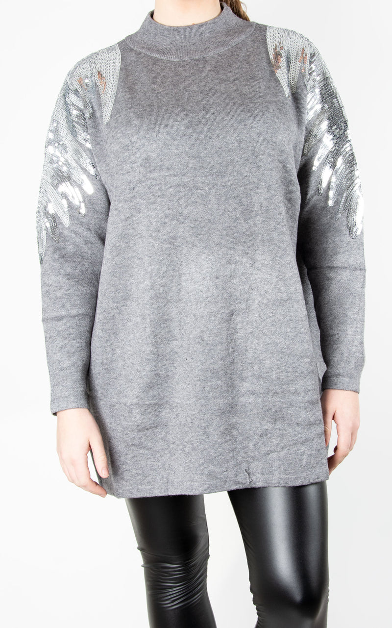 Wing Shoulder Knit | Grey