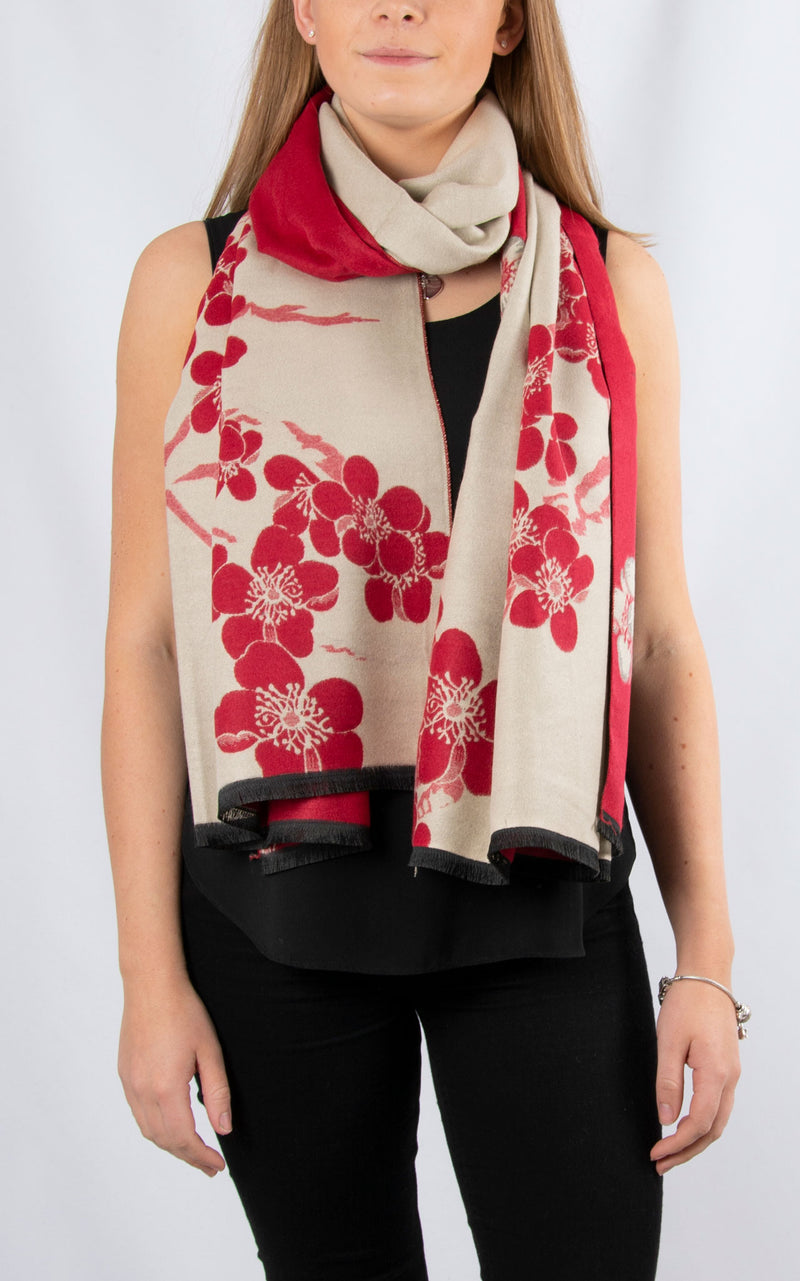 Winter Floral Pashmina | Red