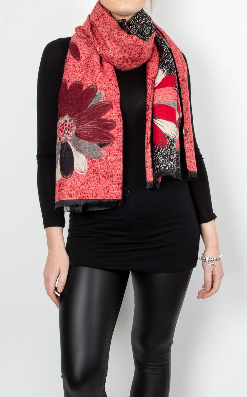 Winter Floral Pashmina | Red & Black