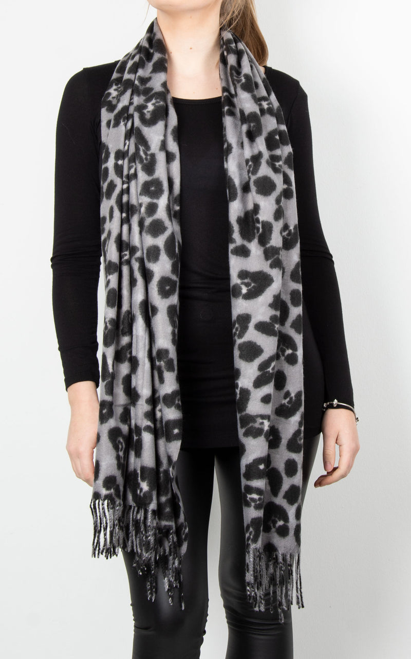 Wool Leopard Scarf | Grey