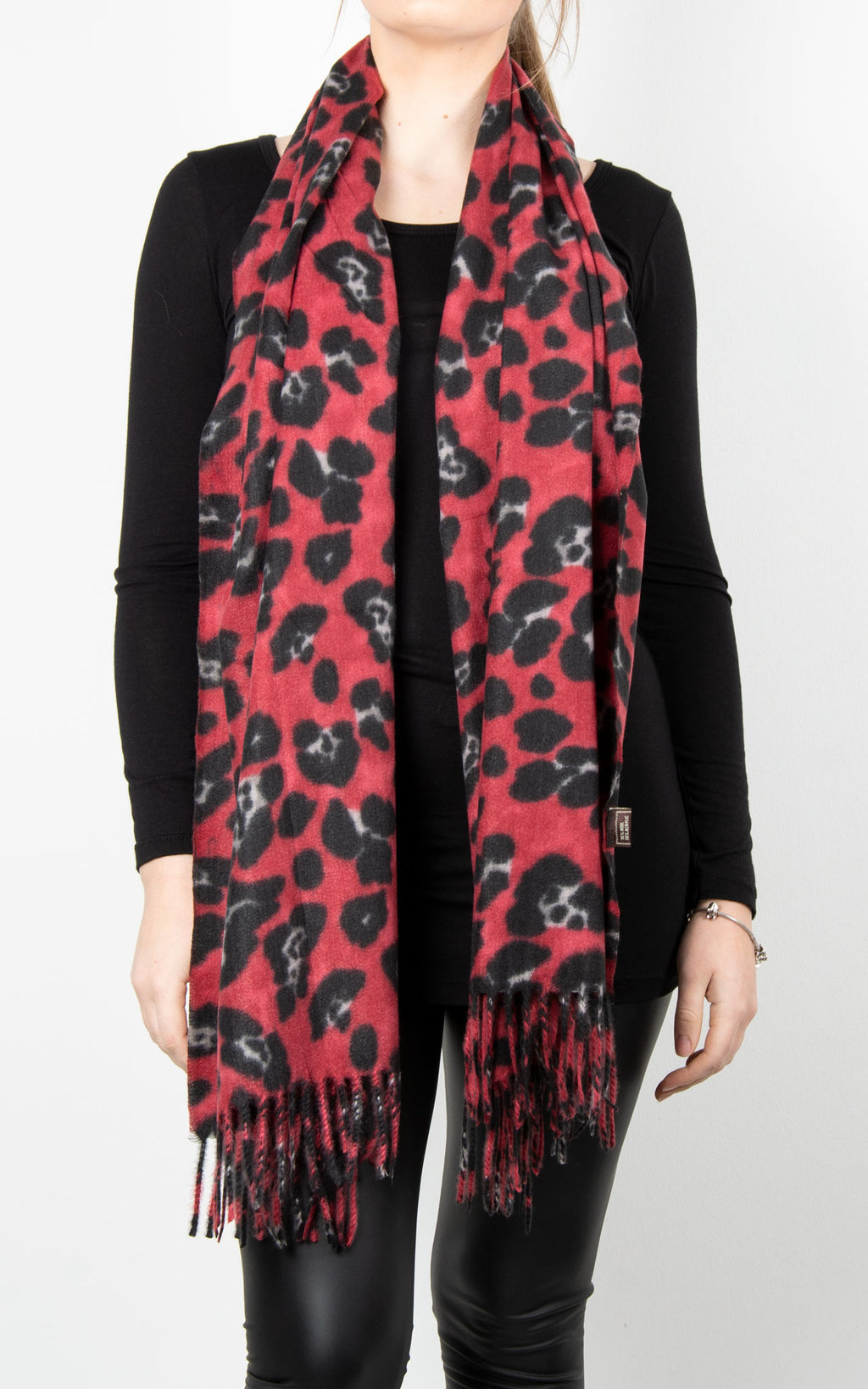 Wool Leopard Scarf | Red