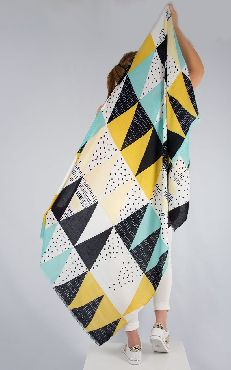 Retro Style Scarf Lemon And Turquoise