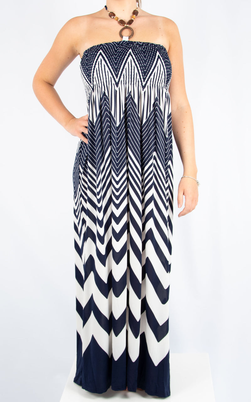 Navy & White Ziggy Dress