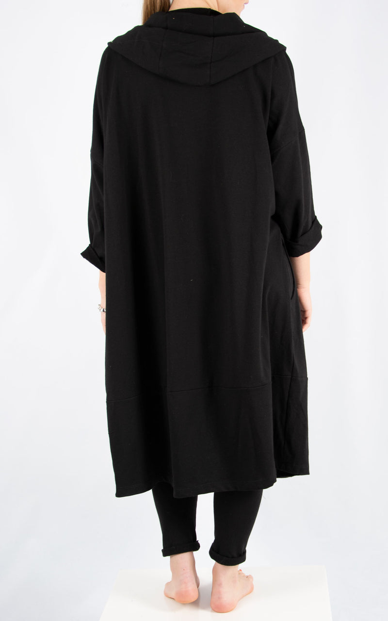 Black Bella Zip Front Oversized Sweater