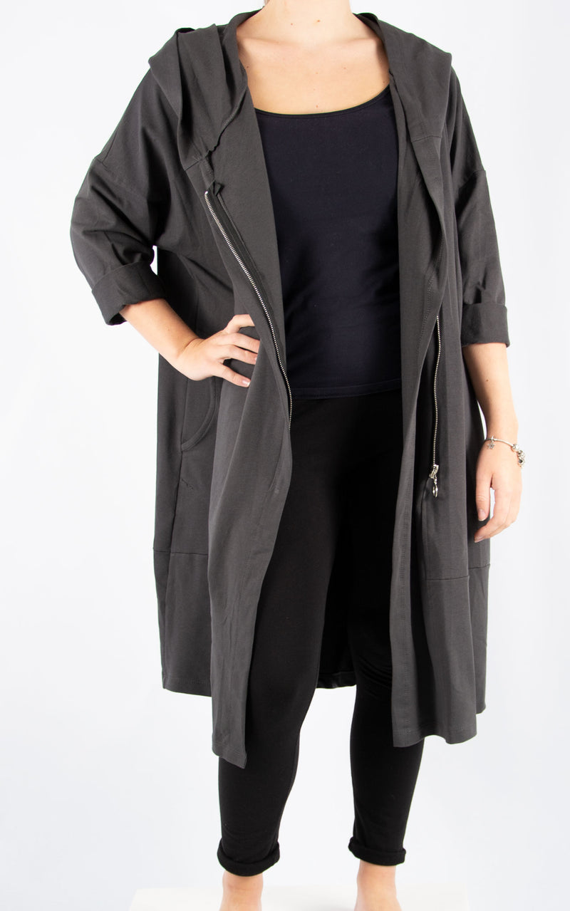 Charcoal Bella Zip Front Oversized Sweater