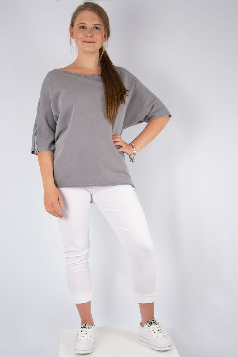 Grey Zip Shoulder T Shirt | Made in Italy