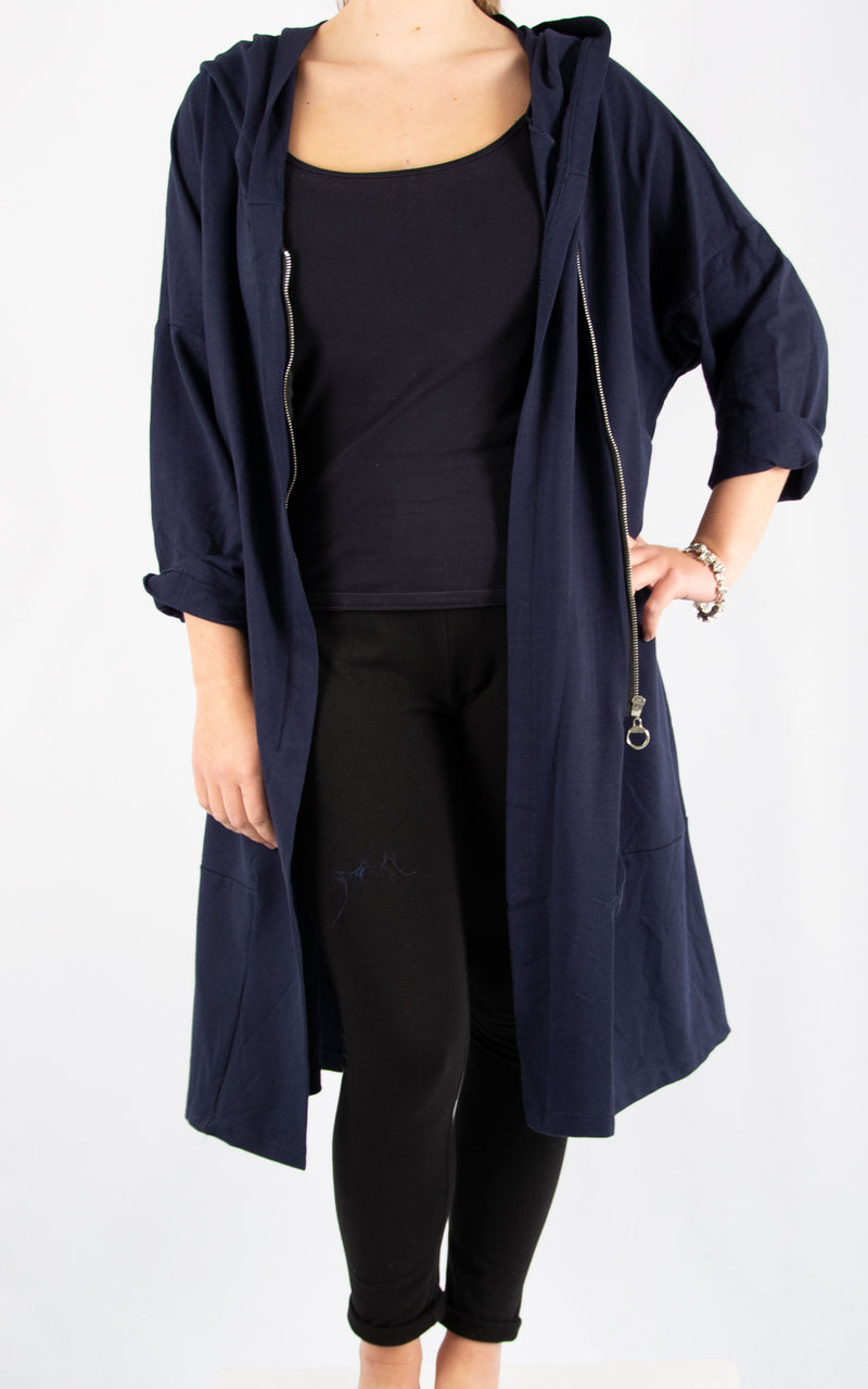 Navy Bella Zip Front Oversized Sweater