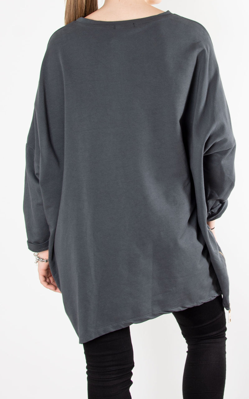 Zip Face Sweat| Grey