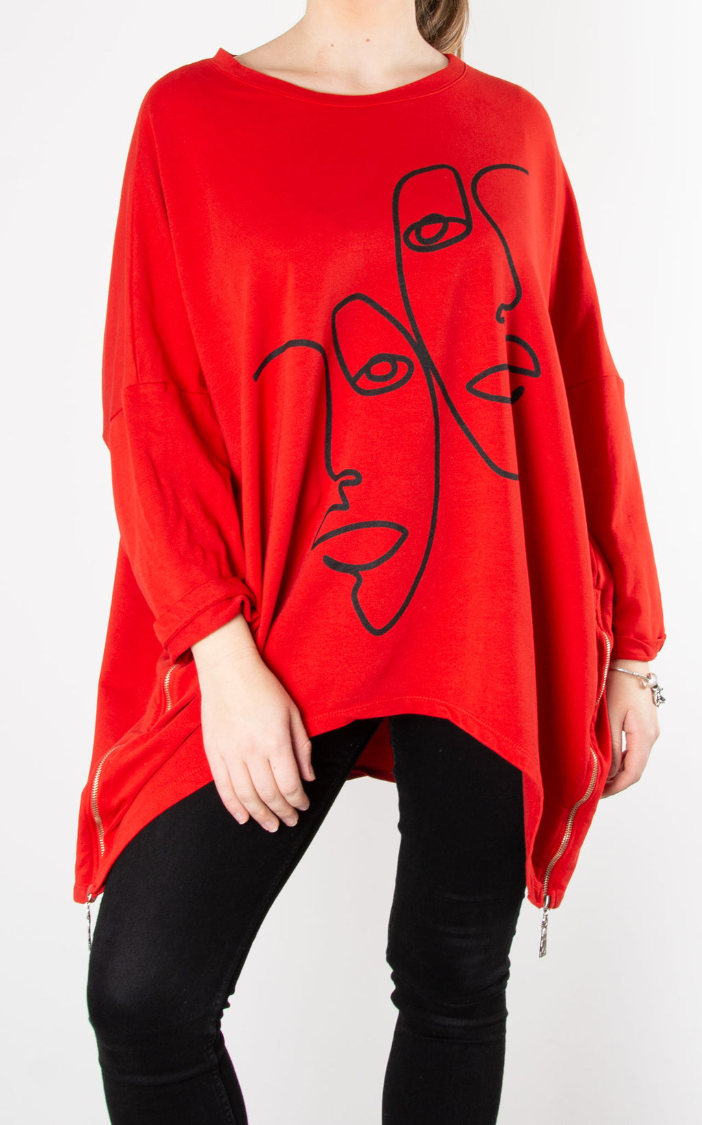 Zip Face Sweat| Red