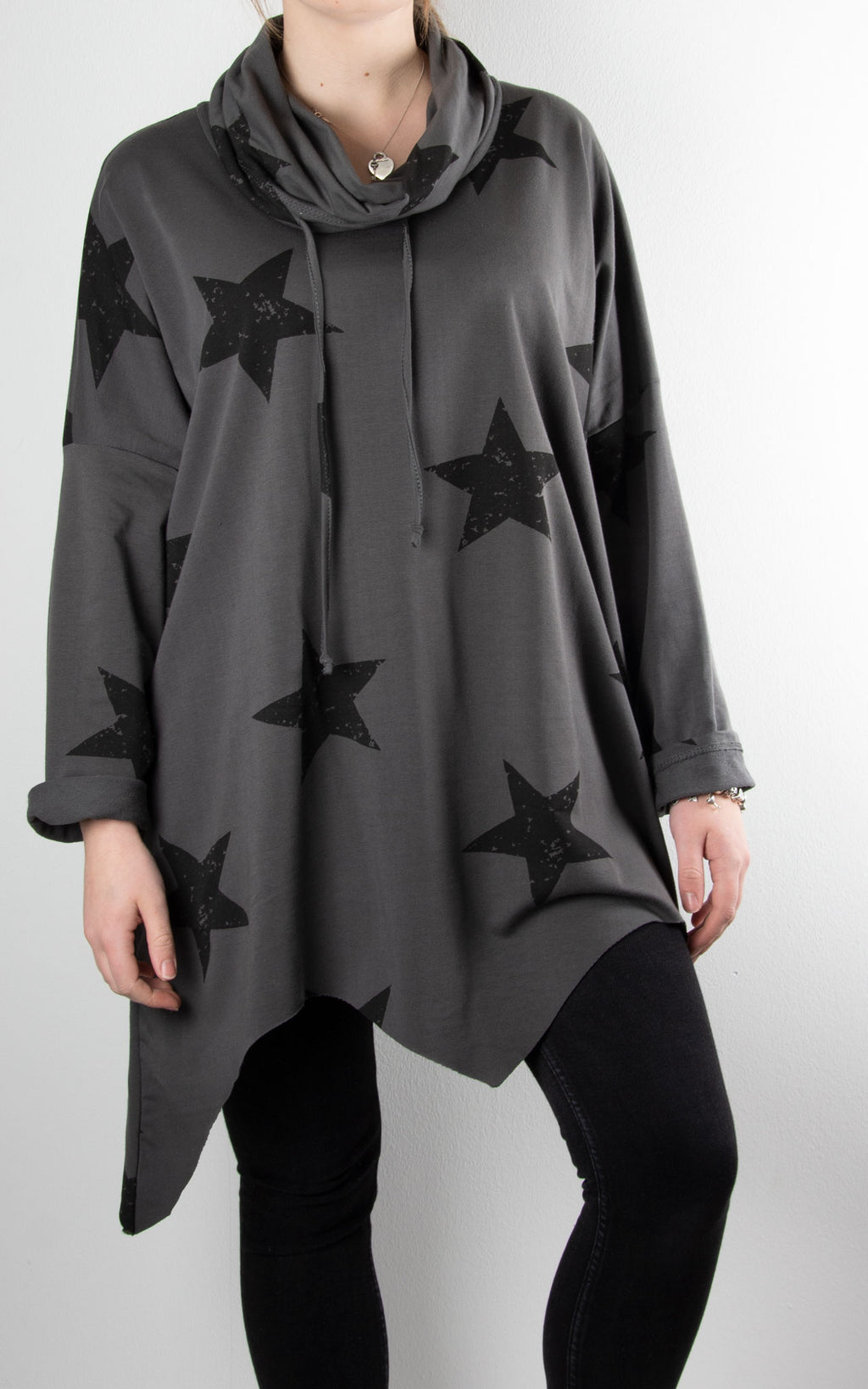 Zoe Cowl Neck Star | Charcoal