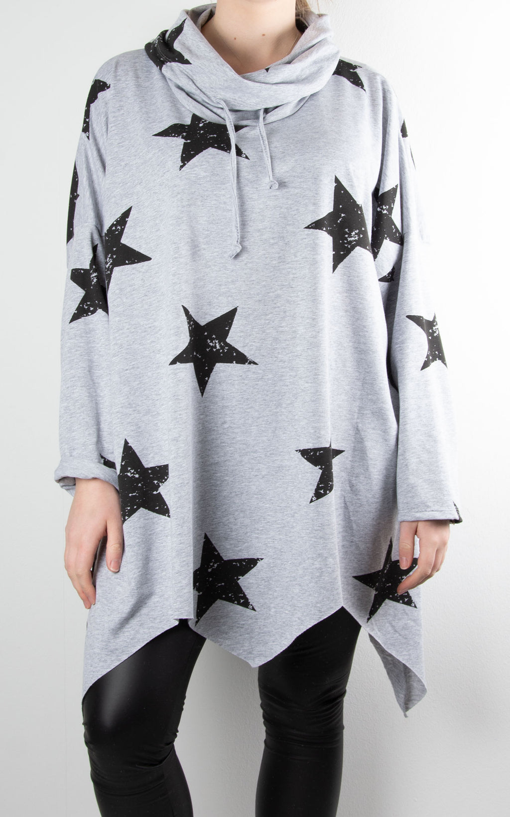 Zoe Cowl Neck Star | Grey