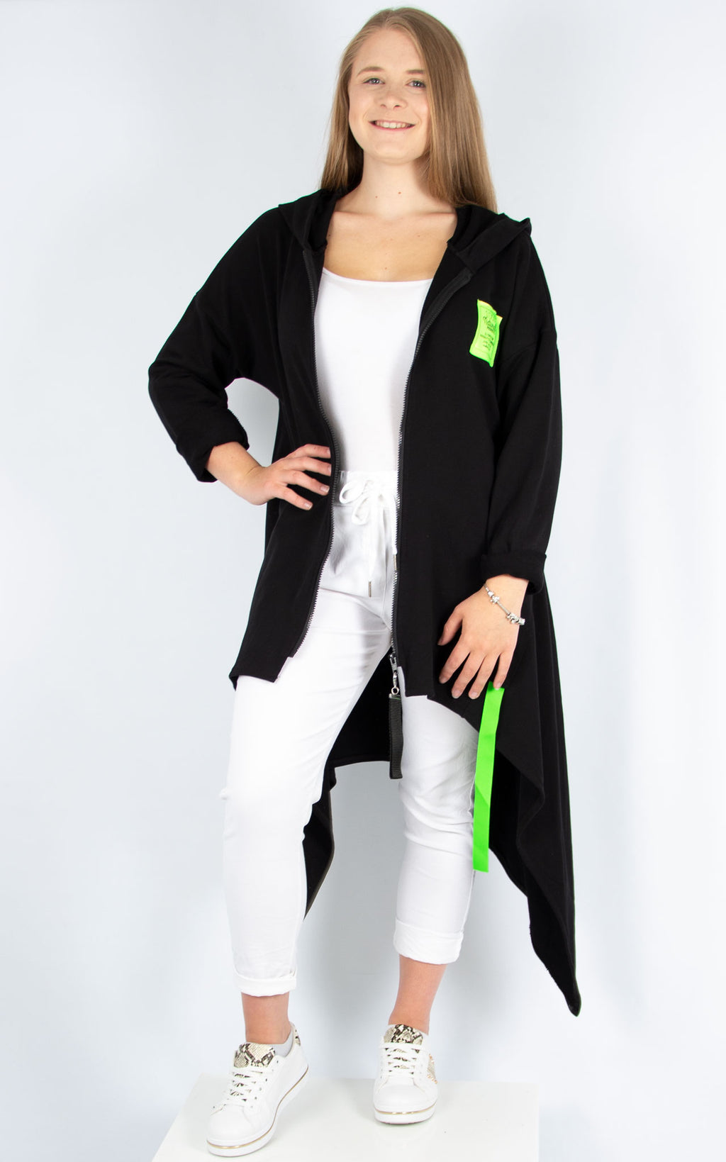 Lime Zipped Hoodie Black | Made in Italy