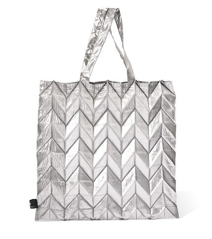 Silver Origami Pleats Bag By NUNO