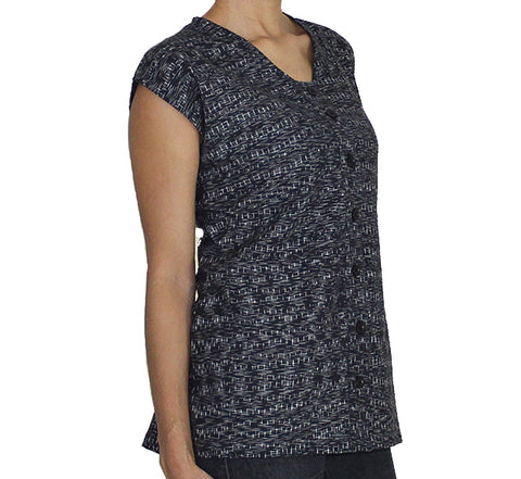 Women's Black and White Ikat Shirt
