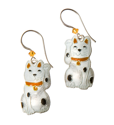 Cloisonne Cat Earrings