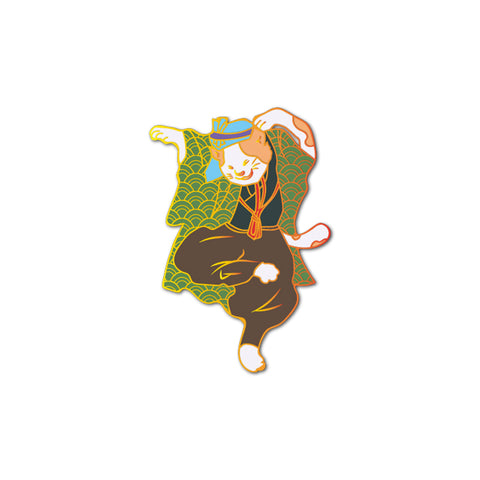 Dancing Cat Green Hapi Pin