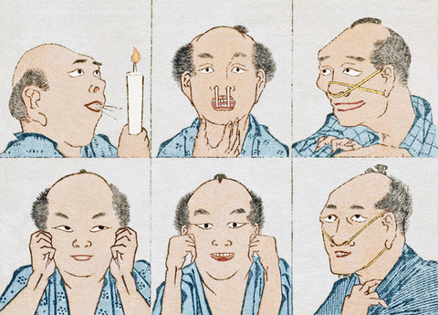 Hokusai Faces Lenticular Postcard