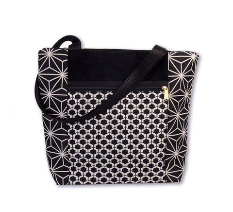Asanoha Black and White Tote