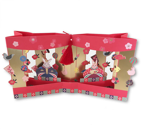 Rabbit Hinamatsuri Pop-up Card (with tassel)