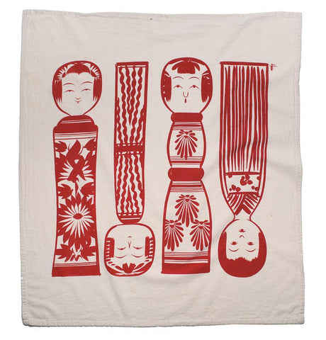Red Kokeshi Dish Towel