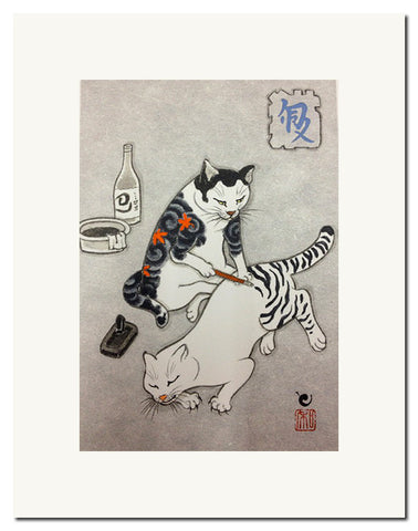 Monmon Cat Print by Horitomo: <i><b>Tebori Cat</i></b>