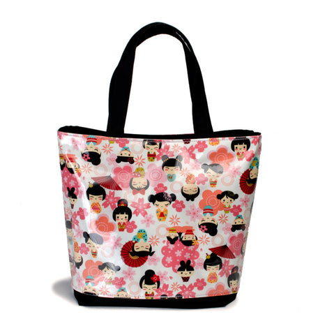 Yancha Flowers and Kokeshi Tote