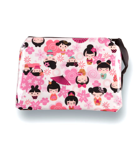 Yancha Flowers and Kokeshi Cosmetic Bag