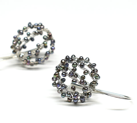 """Goma"" (Black Pearl) Ball Earrings"