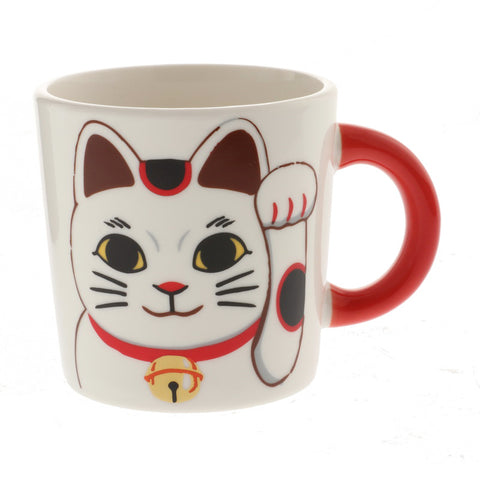 Maneki Neko Red-Handle Mug