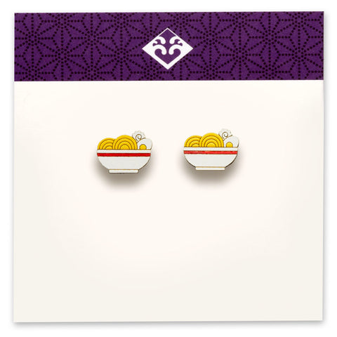 Wooden Ramen Bowl Earrings