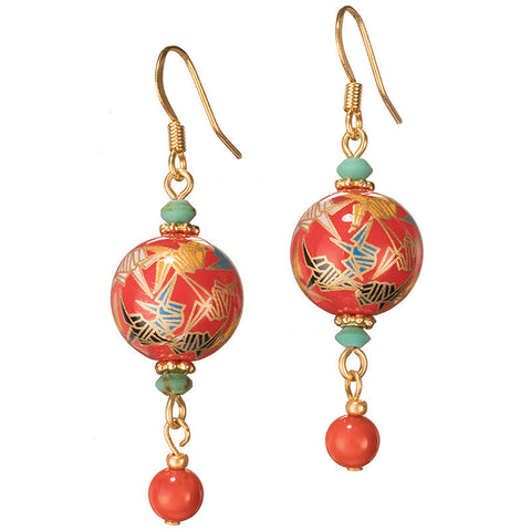 Red Crane Tensha Bead Earrings
