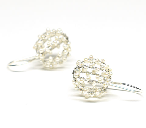 """Rice"" (White Pearl) Ball Earrings"